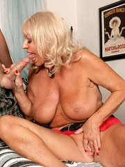 Hot blonde cougar Mandi McGraw seduces a guy and gets butt fucked too