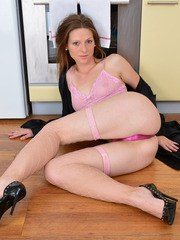 Mature lady Mischelle ends up naked and bare foot on kitchen floor