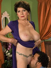 Hot granny Bea Cummins and her boy toy swap oral sex favors