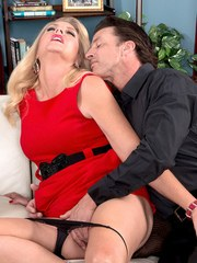 Classy older blonde Kay DeLynn gets naked and blows her lover after foreplay
