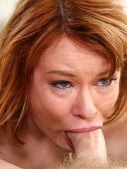 Redhead housewife Claire Robbins gets throat fucked by a long dick