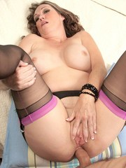 Naughty granny Lydia South seduces the neighbors grandson in hose and garters