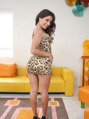 Latina solo girl Jynx Maze works her big tits and ass clear of her short dress