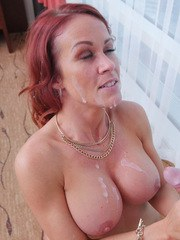 Redhead cougar Sabrina Cyns pleases the neighbors boy with a BJ and tit fuck