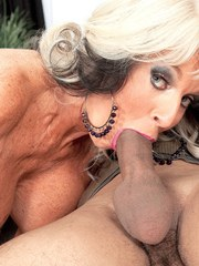Big boobed granny Sally DAngelo sucks off her boy toys cock with gusto