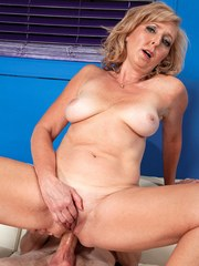 Horny blonde granny Jasmine Fields gets butt fucked by her much younger lover