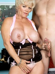 Busty blonde granny Destiny Anne seduces and blows a guy in that order