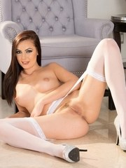 Beautiful brunette model Marley Brinx strips down to white stockings and heels