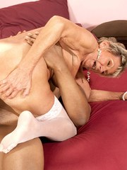 Grey haired gran Sandra Ann lives out her fantasy of fucking a big black cock