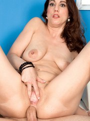 Middle-aged brunette Stella Rose gets ass fucked by her sons buddy