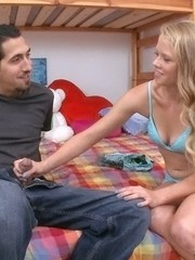 Young blonde girl Brittney Cruise seduces her Latino stepbrother with a BJ