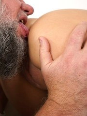 Dark haired chick Annie Wolf gets fucked hard by a dirty old man
