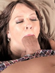 Brunette cougar Nicky White gets a mouthful of jizz from her lovers big cock
