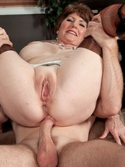 Older sex therapist Bea Cummins gets ass fucked by a client in her office