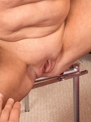 Chubby granny Bethany James sucks the cum right out of a long cock