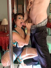 Older woman Persia Monir sucks off a huge cock in fishnet stockings