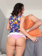 Leggy amateur Madlin Moon seduces a guy in a short skirt and glasses