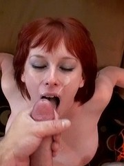 Busty redhead Zoey Nixon gets facialized after a POV fuck session