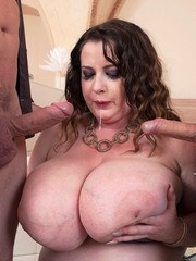 BBW Anna Beck lets the boys play with her huge tits before giving them head