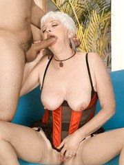 Busty granny Suzy gets chipmunked while sucking younger mans cock