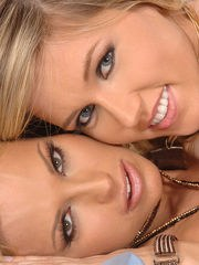 Beautiful blondes Sylvia Laurent  Cherry Jul swap cum at end of a threesome