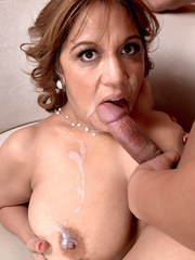 Older lady Marisa Carlo shows her young lover a really good time