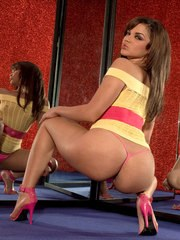 Young Latina girl Luccia Cardona flaunts her juicy ass before toying her pussy