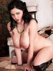 Chubby brunette Shione Cooper sucks a cock in over the knee boots