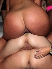 Party girls at a swing club line up their bare asses for a blast of jizz