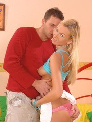 Sexy blonde teen Deniska finds her stepbrothers cock irresistible