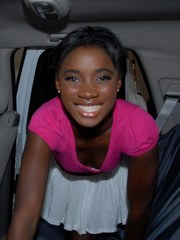 Black amateur Bonnie strips to argyle socks only in backseat of a car