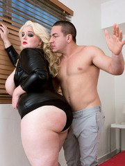 Blonde BBW Lucy Lenore gets her big butt spanked during foreplay