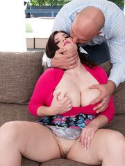 BBW Dulcinea gets fucked on a sofa after being coerced into sex