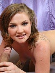 Sweet teen girl Cassidy Essence jerks and sucks on a large cock in the nude