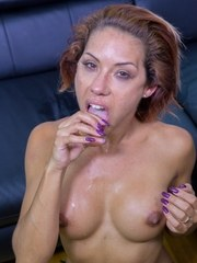 Redhead pornstar Rose Valerie swallows a load of jizz after anal sex