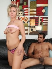Blonde MILF Holly Marie Bryn asks for a facial cumshot after fucking