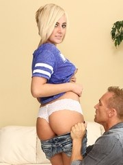Blonde teenager Kate England gets it in the ass for the first time