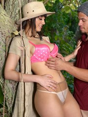 Brunette female Meko Lilly has her hose ripped away for a quick fuck in woods