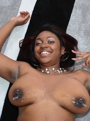 Chubby ebony chick gets nailed hard before a cumshot on her big floppy boobs
