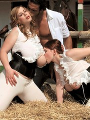 Busty chicks Terry Nova  Christy Marks ride cocks in a bed of straw