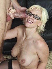 Blonde MILF Kaylee Brookshire seduces a man with her glasses still on