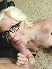 Sexy MILF Kaylee Brookshire sucks off a cock wearing glasses and nylons