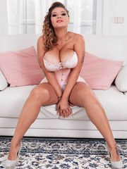 Chubby solo girl Daria covers her massive tits with whip cream