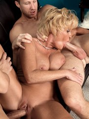 Older lady Trixie Blu has her asshole spread and banged while fucking 2 men