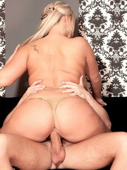Big titted blonde chick Krystal Swift seduces a guy in a black dress and heels