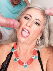 Granny Silva Foxx fucks two men while her cuckold husband has to watch
