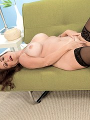Middle aged broad Karen DeVille plays with her twat wearing black stockings