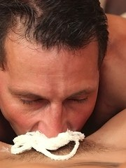 MILF Kathia Nobili and her man bring out the whip cream while swapping oral