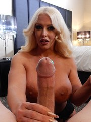 Platinum blonde chick with huge boobs gives a big cock mega pleasure POV style