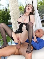 Mary Wet gets fucked on boat dock wearing sexy lingerie and black nylons